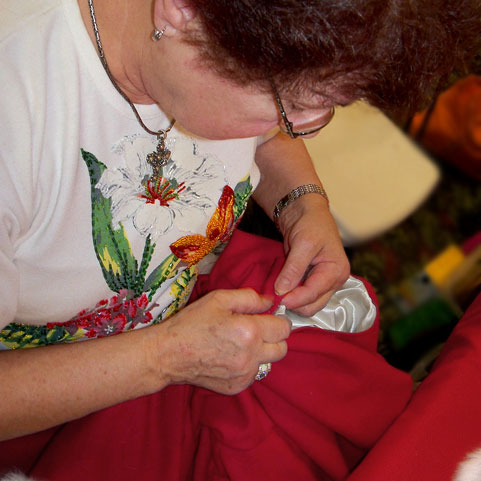 One of our master seamstresses at work