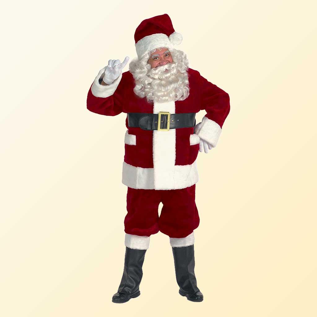 (Halco) Burgundy Deluxe Santa Claus Costume - 5691