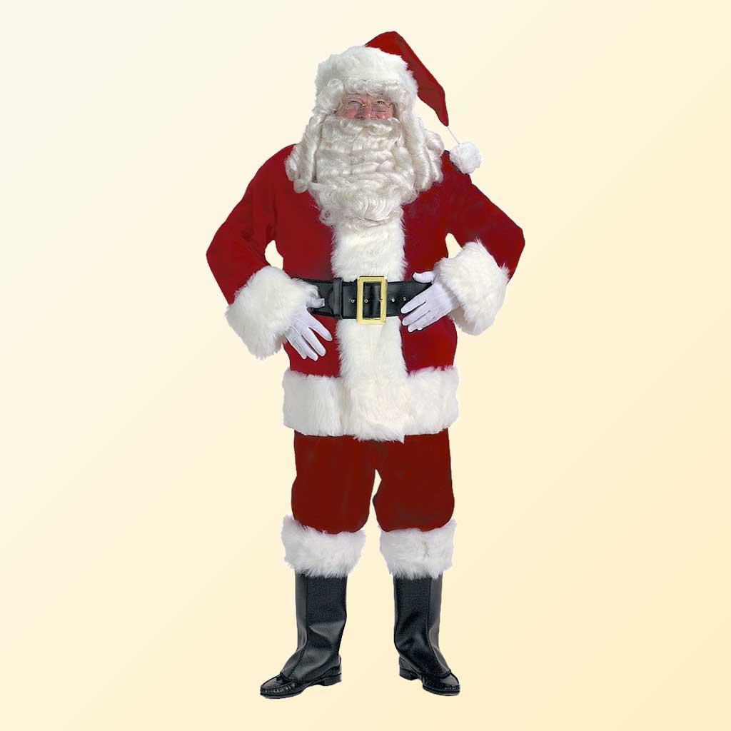 (Halco) Burgundy Velvet Santa Claus Costume - 7091