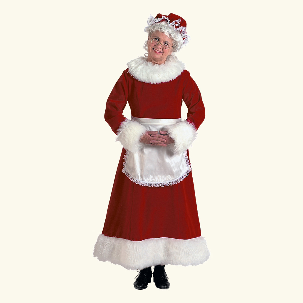 (Halco) Burgundy Velvet Mrs. Claus Costume - 7051