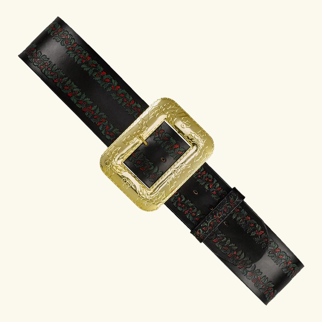 (Halco) Embossed Leather Santa Claus Belt - 9969
