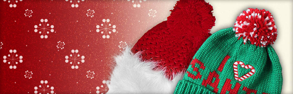 "Closeout: Mrs. Claus Hat and ""I Heart Santa"" Beanie"
