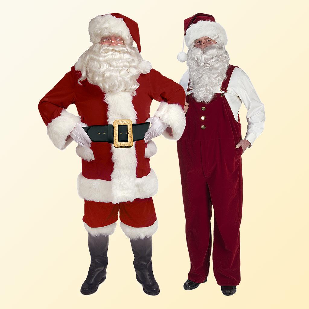 (Halco) Burgundy Velvet Overalls Santa Claus Costume